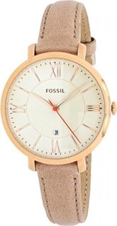Fossil White Dial Rose Gold Leather Strap Watch for Women ES3487