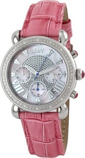 Jbw Pink Leather White Dial Chronograph for Women Jb-6210l-e