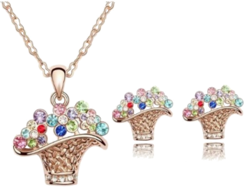 18K White Gold Plated MA-213 Flower Basket Jewelry Set Gold