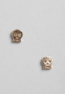 RIA MARIA Skull Stud Earrings - Gold