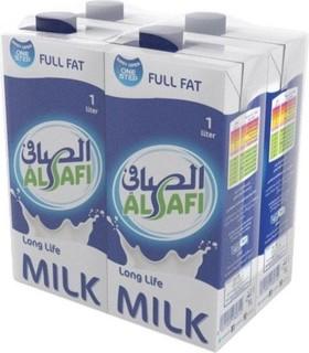 Al Safi Full Fat Long Life Milk - Pack of 4 Pieces (4 x 1L)
