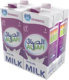Al Safi Skimmed Long Life Milk - Pack of 4 Pieces (4 x 1L)
