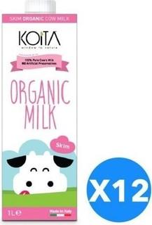 Koita Organic Milk Skim - Pack of 12 Pcs (12 x 1L)