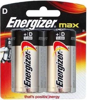 Energizer Max Alkaline D Battery - Pack of 2