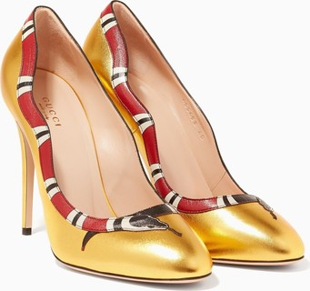 Gucci Gold Metallic Leather Snake Pumps