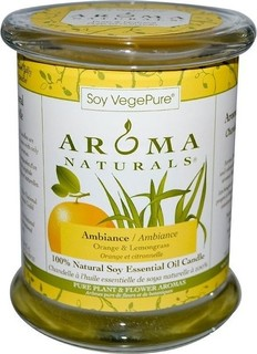 Aroma Naturals, Soy VegePure, 100 Natural Soy Essential Oil Candle, Ambiance, Orange & Lemongrass, 8.8 oz 260 g