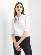 Gap Fitted Boyfriend Oxford Shirt in white color