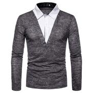 Eslan Men's Button Slim Fit Patchwork Turn-Down Collar Long Sleeve Top Blouse Shirt