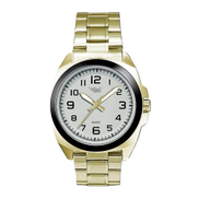 TribalSensation Gold Metal Band Watch With White Dial