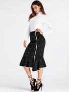 Pearl Beaded Frill Hem Ringer Skirt