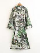 Foliage Print Self Tie Kimono