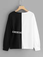Letter Print Ribbon Decoration Sweatshirt
