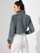 SHEIN Half Zipper Crop Teddy Sweatshirt