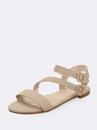 Twin Buckles Open Toe Gladiator Flat Sandals