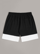 SHEIN Men Letter Print Contrast Hem Drawstring Shorts