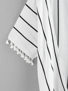 Plus Fringe Hem Striped Kimono