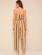 Striped Belted Cami Jumpsuit