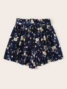 SHEIN Paperbag Waist Ditsy Floral Print Wide Leg Shorts