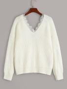 V-neck Lace Panel Trim Sweater