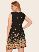 Plus Floral And Butterfly Print Dress