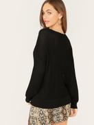 SHEIN V-neck Drop Shoulder Semi Sheer Sweater