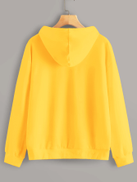 Neon Yellow Butterfly Embroidery Drawstring Hoodie