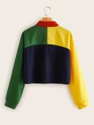 Cut And Sew Half Placket Sweatshirt