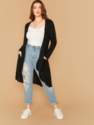 SHEIN Plus Solid Open Front Pocket Patched Coat