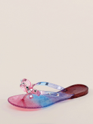 Sparkly Rainbow Ombre Jelly Stud Y-Strap Sandals