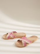 Striped Cross Strap Slippers