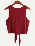 SHEIN Tie Front Ribbed Crop Tank Top