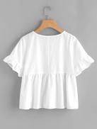 SHEIN Ruffle Sleeve Babydoll Top