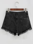 SHEIN Bleach Wash Distressed Denim Shorts