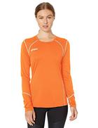 ASICS Volleycross Quick-Dry Long Sleeve Top, Orange Steel Grey, X-Small