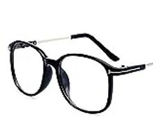 Other Retro Metal Flat Decoration Eyewear Fashion Big Frame Glasses For Women Men,black