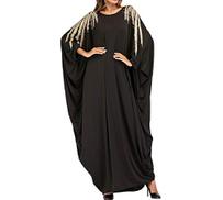 cheelot Women's Plus Size Abaya Muslim Dubai Batwing Sleeve Maxi Dresses
