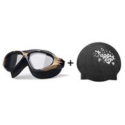 Swimming Goggles Coated Waterproof Anti-fog HD Swimming Glasses Men And Women Coated Swimming Goggles + Swimming Cap Color : Black, Size : 17 6.2 8.5cm
