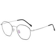 Xiangwubaihuo Titanium Frame Rim Irregular Square Retro Students Plain Mirror Glasses Glasses Can Size : Black and silver frame