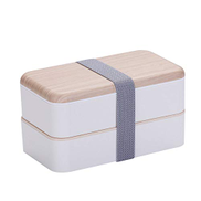 HLDUYIN Double Lunch Box Portable Large Capacity Lunch Box Stainless Steel Lunch Box White
