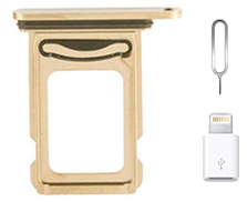 A-Parts for iPhone 12 Pro Dual SIM Card Tray Replacement for iPhone12 Pro Nano Dual SIM Card Tray Slot Holder Adapter + Micro USB Adapter + Eject Pin Gold