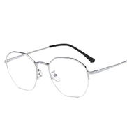 Xiangwubaihuo Polygon Metal Eyeglass Frame Retro Theatrical Glasses With Stylish Frames For Men And Women Size : Silver frame