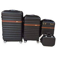 Murano 3 Pieces Trolly Bags with small Fiber Material Black Colour