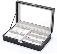Other Jewelery Box & Watch Box Jewelry Storage Box Watch Box Organizer with Drawer Leather Case For Watch Jewelry Display, Leather + Fibreboard + Velvet, Black, W 34.6 x H 22.6 x L 11.2 cm