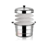 LPRD Steamer, Extra Large Stainless Steel Steamer, Large Capacity, Canteen Big Mouth 36cm-50cm Color : 3 layers 40cm