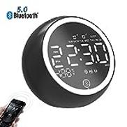 المتحدث-EJOYDUTY Creative Alarm Clock for Kids with Bluetooth Speaker, 4 Brightness, LCD screen, for Kids, Party, Bedroom, Hands Free Phone Loudspeaker,Black
