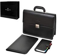 Renato Landini R1072 LC Briefcase for Men - Leather, Black