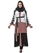 Look Style Silk Abaya With Matching Sheila White Black Brown LS150125c