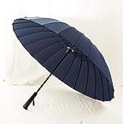 Aomerrt Rain Umbrella Men Women Quality Glass Fiber Umbrella Strong Windproof Wooden Handle Women Paraguas,Blue