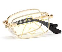JSHFD Folding Reading Glasses Progressive Multiple Focus Multifocus Glasses Multifocal Computer Reading Glasses Blue Light Filter Computer Glasses Color : Gold, Size : 1.5