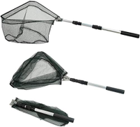 Fishing Folding Landing Net & Extending Foldable Pole Handle Fishing Net